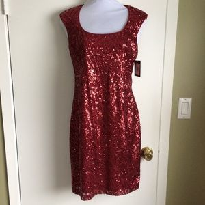 NWT Red Sequined Square Neck Sheath Dress  6